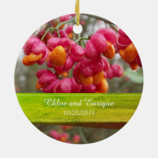Pink Spindle Fruit/ Flowers Wedding Ornament