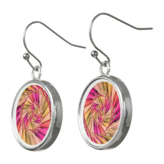 Pink Spiral Fractal Drop Earrings