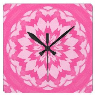 Pink Splash. Square Wall Clock