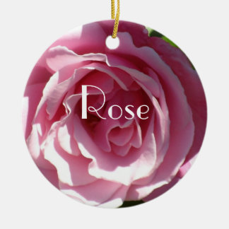 Pink Splendor Rose Round Ceramic Decoration
