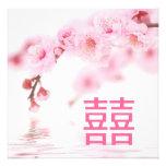 Pink Spring Blossom Chinese Wedding Invitation