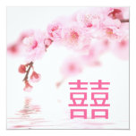 "Pink Spring Blossom Chinese Wedding Invitation 5.25"" Square Invitation Card"
