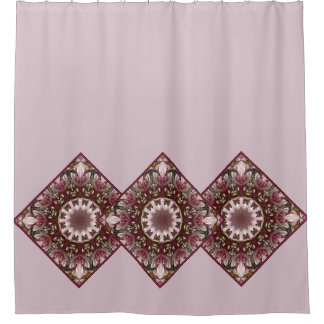 Pink spring blossoms 1.1.2.4, mandala style shower curtain