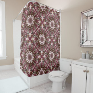 Pink spring blossoms 1.1.2, floral mandala style shower curtain
