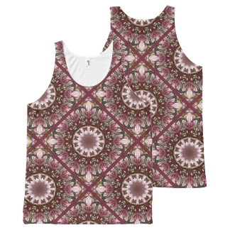 Pink spring blossoms 1.1, floral mandala style All-Over print tank top