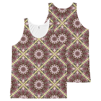 Pink spring blossoms 1.2, floral mandala style All-Over print tank top