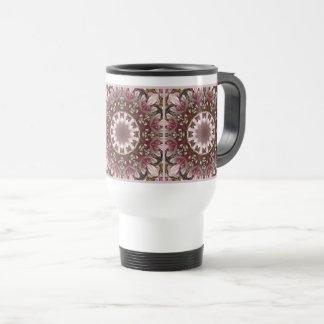 Pink spring blossoms 1.3.2.3, floral mandala style travel mug