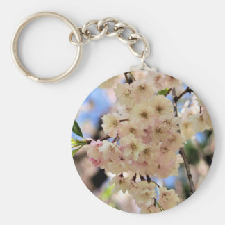 Pink Spring Blossoms Flower Basic Round Button Key Ring