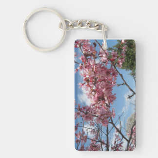 Pink Spring Blossoms Single-Sided Rectangular Acrylic Key Ring