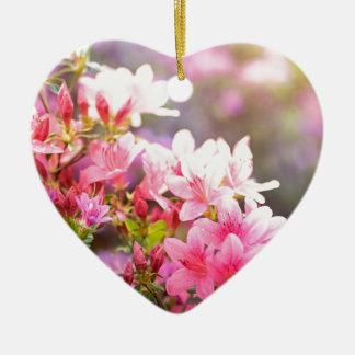 Pink spring flowers ceramic heart decoration
