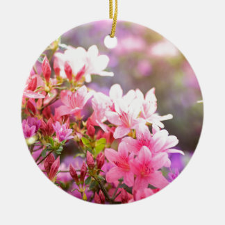 Pink spring flowers round ceramic decoration