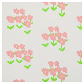 Pink spring flowers white background fabric