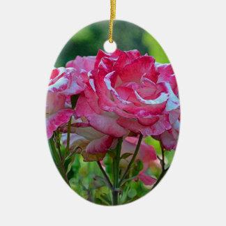 Pink spring roses ceramic oval decoration
