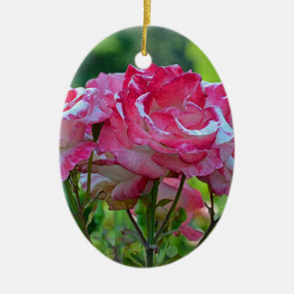 Pink spring roses christmas ornament