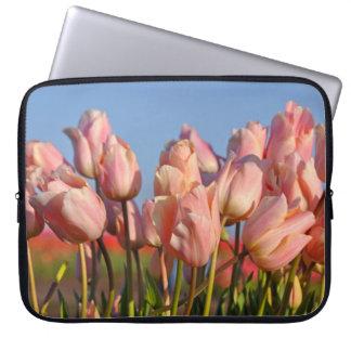 Pink spring tulips laptop sleeve