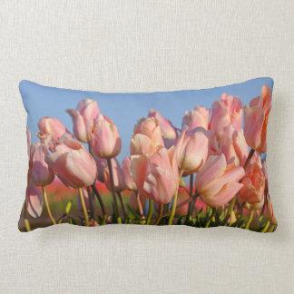 Pink spring tulips lumbar cushion