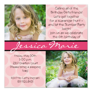 Pink Square with polka dots and ribbon 13 Cm X 13 Cm Square Invitation Card