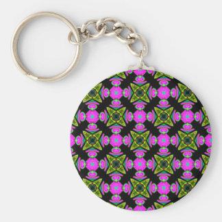 Pink Squared Design Basic Round Button Key Ring
