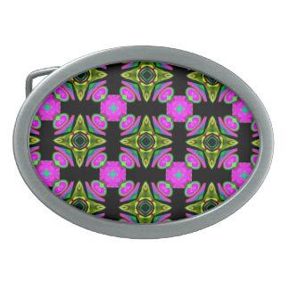 Pink Squared Design Oval Belt Buckle