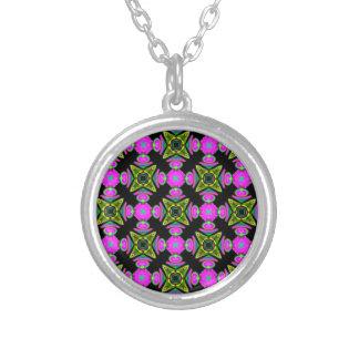Pink Squared Design Round Pendant Necklace