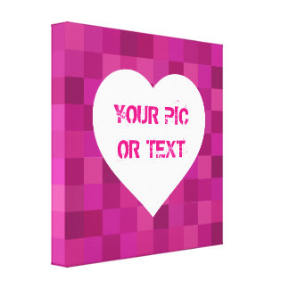"Pink Squares 24"" x 24"" Wrapped Canvas Heart Stretched Canvas Print"