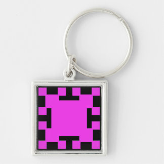 Pink  squares and squares Silver-Colored square key ring