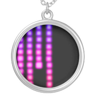 Pink Squares Round Pendant Necklace