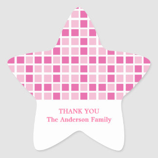 Pink Squares Pattern Star Sticker
