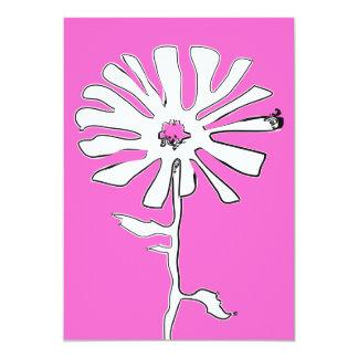 pink squiggle flower 13 cm x 18 cm invitation card