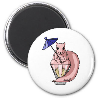 Pink Squirrel 6 Cm Round Magnet