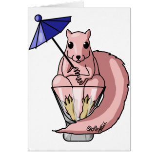 Pink Squirrel Greeting Card