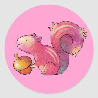 Pink squirrel Small Stickers
