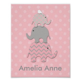 Pink Stacked Elephants Nursery / Room Wall Art