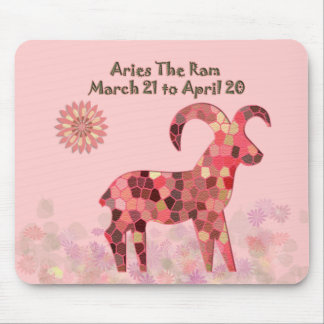 Pink Stained-glass Aries Mousepad