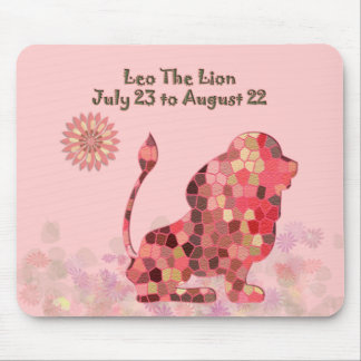 Pink Stained-glass Leo Mousepad
