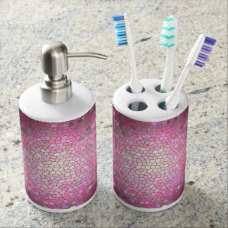 Pink Stained Glass Mosaic Soap Dispenser