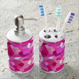 Pink Stained Glass Soap Dispenser And Toothbrush Holder