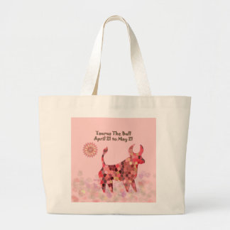 Pink Stained-glass Taurus Large Tote Bag