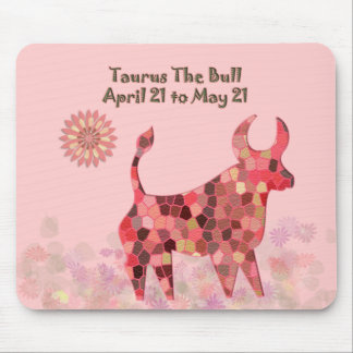 Pink Stained-glass Taurus Mousepad