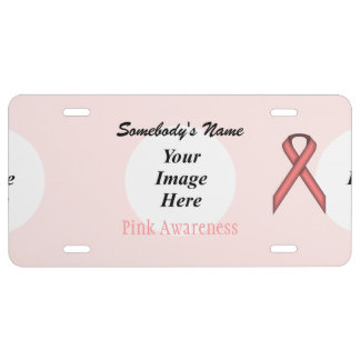 Pink Standard Ribbon Template License Plate