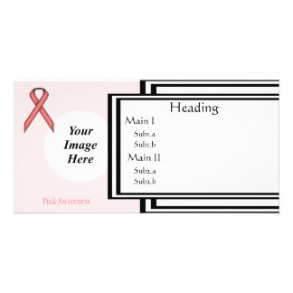 Pink Standard Ribbon Template Personalised Photo Card