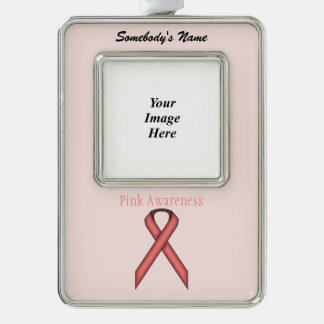 Pink Standard Ribbon Template (V-O) Silver Plated Framed Ornament