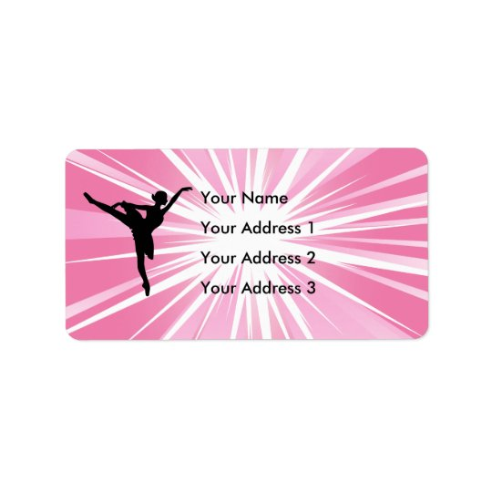 Pink Star Ballerina Address Label