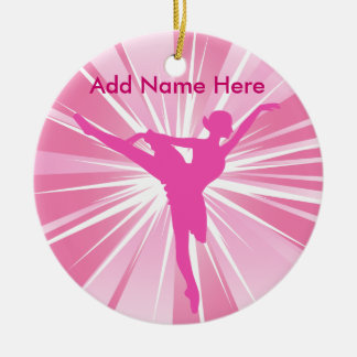 Pink Star Ballerina Name customizable Ornament