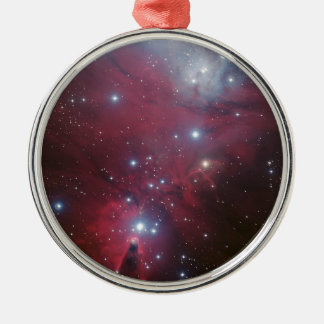 Pink Star Cluster Nebula Silver-Colored Round Decoration
