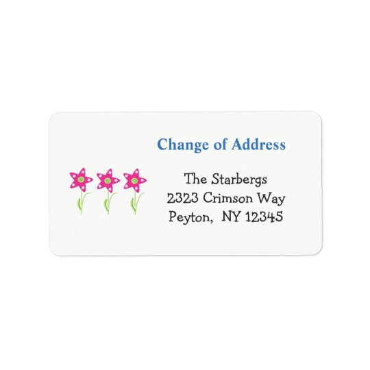 Pink Star Flowers Home Address Label