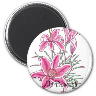 Pink Star Gazer Lily Flower Refrigerator Magnet