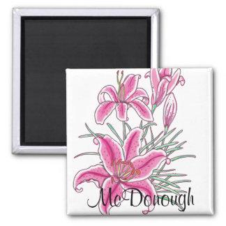 Pink Star Gazer Lily Fridge Magnet