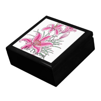 Pink Star Gazer Lily Large Square Gift Box