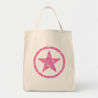 PINK STAR GRUNGE TEXTURE GROCERY TOTE BAG